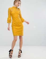 Paper Dolls High Neck Midi Lace Dress with Double Frill Sleeve - Yellow