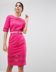 Paper Dolls Lace Trim Belted Bodycon Dress - Pink