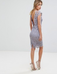 Paper Dolls Midi Lace Dress with Scalloped Back - Grey