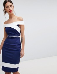 Paper Dolls Navy Panel Dress - Navy