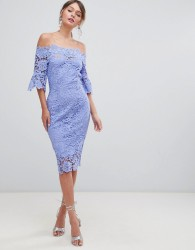 Paper Dolls Off Shoulder Crochet Dress With Frill Sleeves - Purple