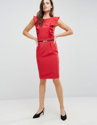 Paper Dolls Pencil Dress With Ruffle Detail - Red