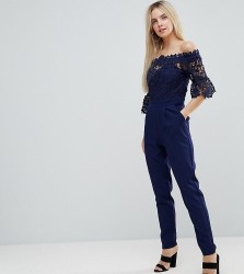 Paper Dolls Petite Bardot Cutwork Lace Tailored Jumpsuit - Navy