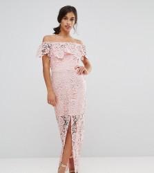 Paper Dolls Petite Bardot Lace Maxi Dress With Frill Detail - Pink