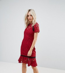 Paper Dolls Petite Cap Sleeve Lace Dress with Crochet Trim - Red