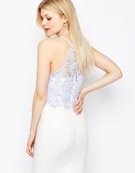 Paper Dolls Petite Lace Bodice Halter Pencil Dress - White