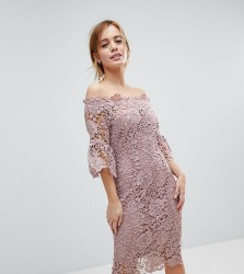 Paper Dolls Petite off shoulder crochet midi dress with frill sleeve - Pink
