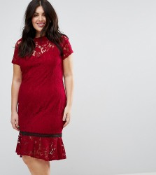 Paper Dolls Plus Cap Sleeve Lace Dress with Crochet Trim - Red