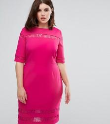 Paper Dolls Plus Lace Insert Pencil Dress - Pink