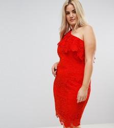 Paper Dolls Plus One Shoulder Crochet Lace Dress - Red