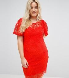 Paper Dolls Plus Short Sleeve Crochet Lace Dress - Orange