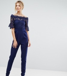 Paper Dolls Tall Bardot Cutwork Lace Tailored Jumpsuit - Navy