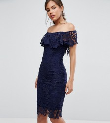Paper Dolls Tall Bardot Lace Pencil Dress With Frill Detail - Navy