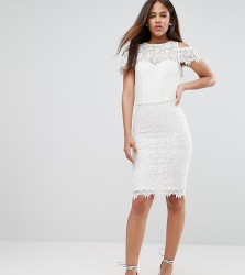 Paper Dolls Tall Cold Shoulder Frill Lace Pencil Dress - Cream