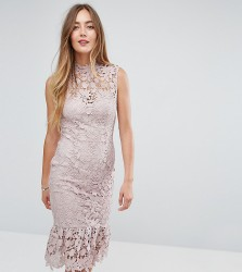 Paper Dolls Tall High Neck Lace Dress with Pephem - Pink