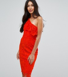 Paper Dolls Tall One Shoulder Crochet Lace Dress - Red