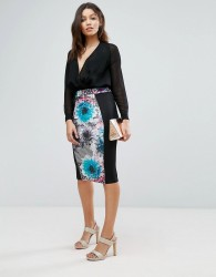Paper Dolls Tropical Geo Floral Pencil Skirt - Multi