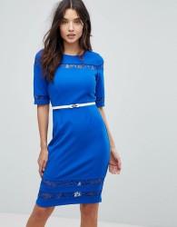 Paperdolls Floral Insert Detail Pencil Dress - Blue