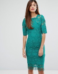 Paperdolls Lace Dress With High Neck - Green