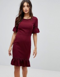 Paperdolls Midi Dress With Peplum Frill Hem And Sleeve - Purple