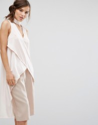 Parallel Lines Wrap Front Choker Neck Top With Cape Back - Beige