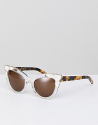 Pared Cat Eye Sunglasses In White & Gold - Clear