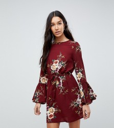 Parisan Tall High Neck Floral Dress With Tie Waist and Flare Sleeve - Red
