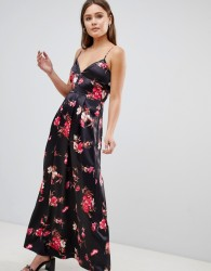 Parisian Floral Maxi Dress - Black