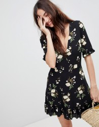 Parisian Floral Tea Dress - Black