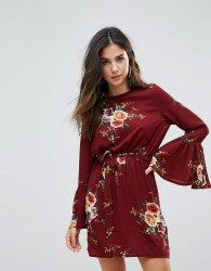 Parisian High Neck Floral Dress With Tie Waist and Flare Sleeve - Red