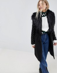 Parisian Longline Coat With Faux Fur Collar And Studded Arms - Black