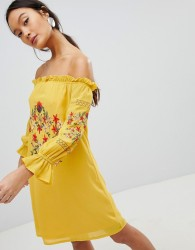 Parisian Off Shoulder Embroidered Dress - Yellow