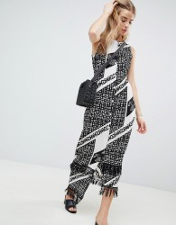 Parisian Printed Midi Dress With Fringe Detail - Black