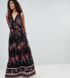 Parisian Tall Border Print Floral Maxi Dress - Black