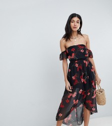 Parisian Tall Floral Off Shoulder Midi Dress - Black