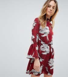 Parisian Tall High Neck Floral Printed Dress - Red
