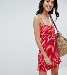 Parisian Tall Polka Dot Cami Dress With Bow - Red