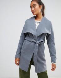 Parisian Waterfall Coat With Tie Belt Detail - Grey