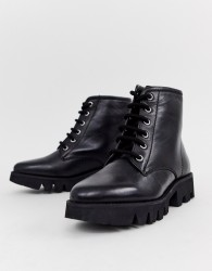 Park Lane Chunky Leather Lace Up Ankle Boots - Black