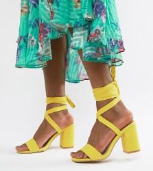 Park Lane Tie Leg Block Heeled Sandals - Yellow