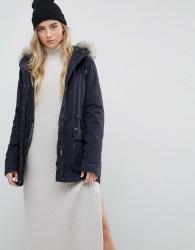 Parka London Alana Faux Fur Trim Parka Coat - Black