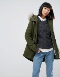 Parka London Alana Faux Fur Trim Parka Coat - Green