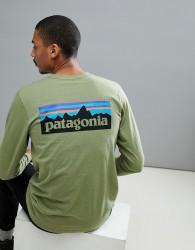 Patagonia P-6 Back Logo Long Sleeve Top Responsibili-Tee in Crag Green - Green