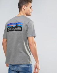 Patagonia P-6 Back Logo T-Shirt Regular Fit in Grey Marl - Grey