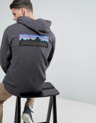 Patagonia P-6 Full-Zip Hoodie With Back Logo in Black Marl - Black