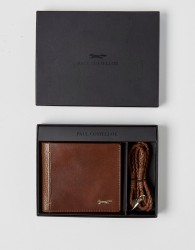 Paul Costelloe Leather Wallet With Braided Bracelet Gift Set - Tan