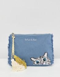 Paul & Joe Sister Denim Cat Clutch Bag - Blue