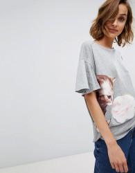 Paul & Joe Sister fluted sleeve cat t-shirt - Grey