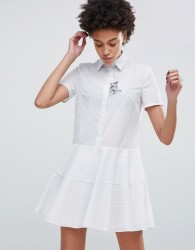 Paul & Joe Sister Shirt Dress with Embroidered Cat - White
