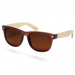 Paul Riley Helt Brune Polariserede Solbriller i Bambus